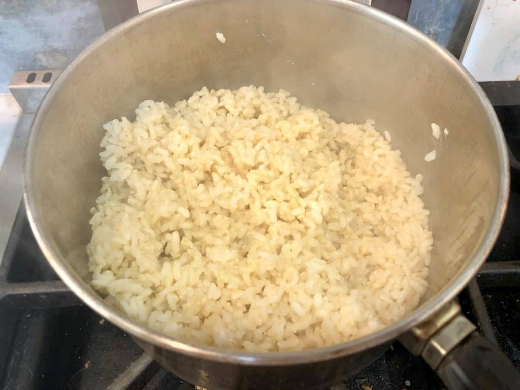 Brown rice in a pot