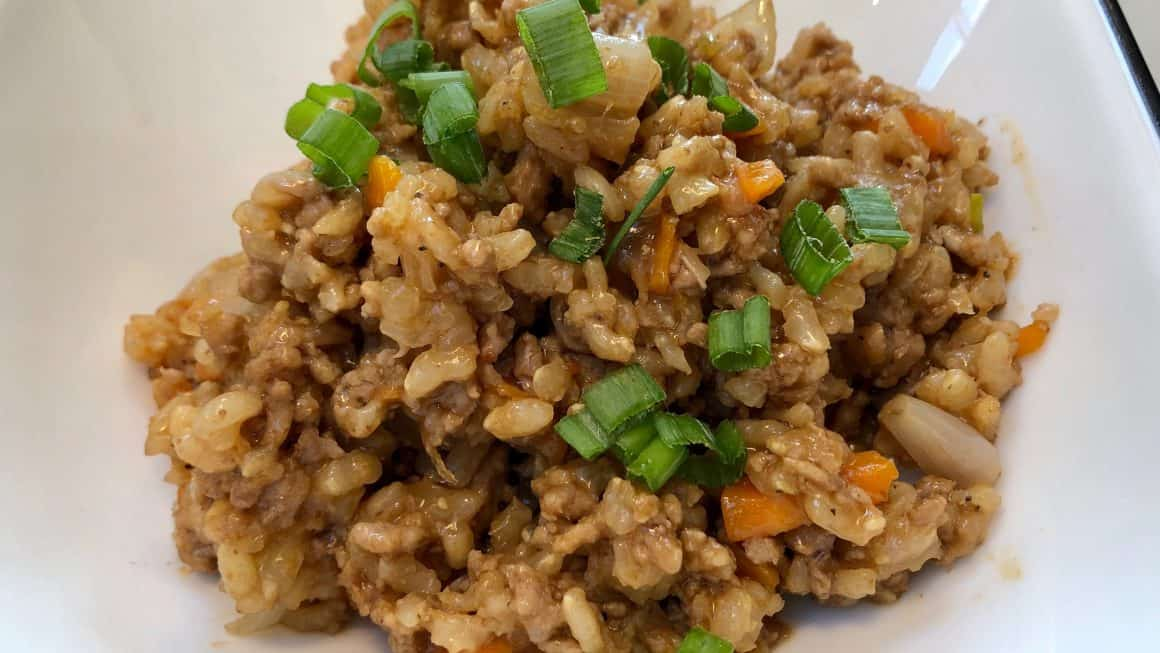 Spicy ground pork with brown rice