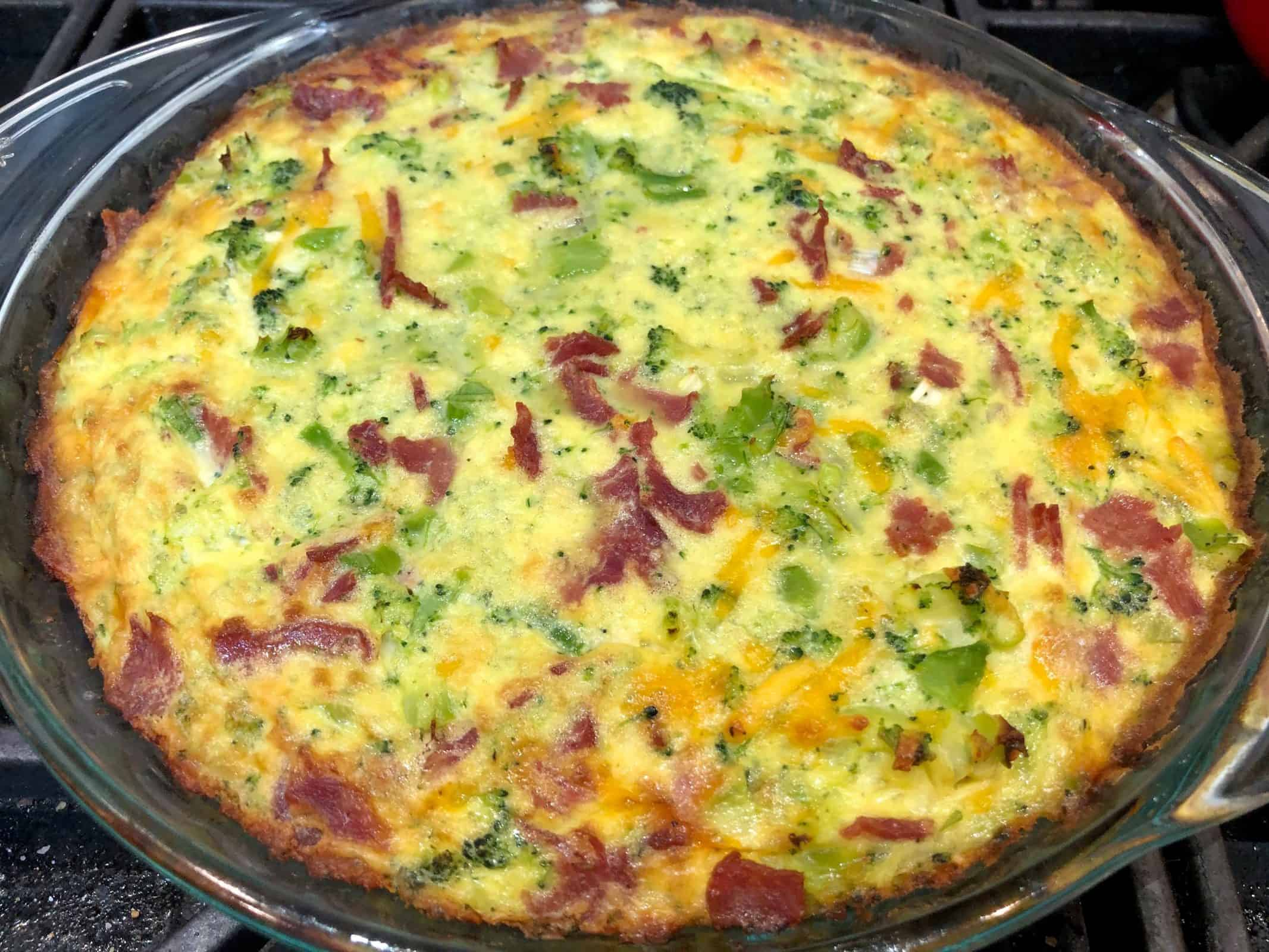 Crustless Broccoli and Turkey Bacon Quiche