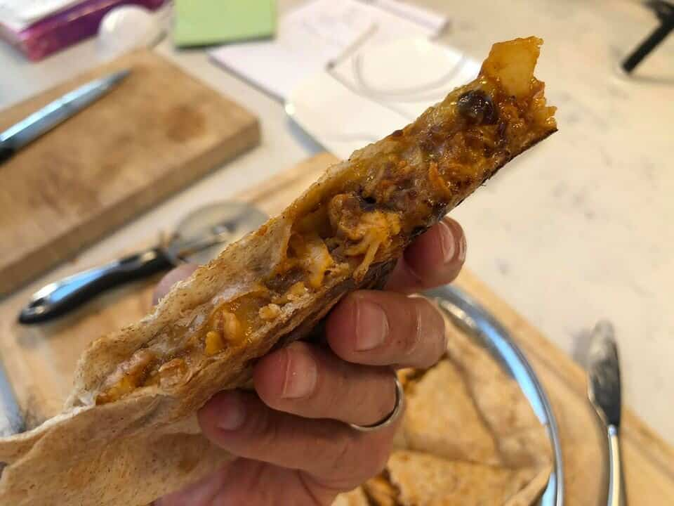 A piece of a quesadilla