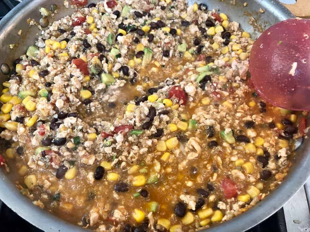 Mexican ground chicken and quinoa cooking