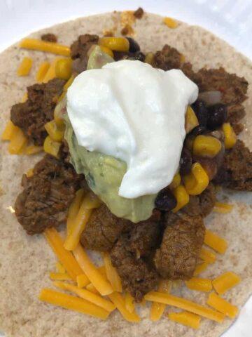 Beef-flavored steak tacos