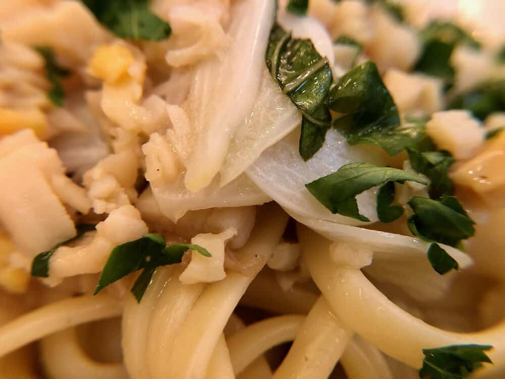 Close up of linguini with clam sauce