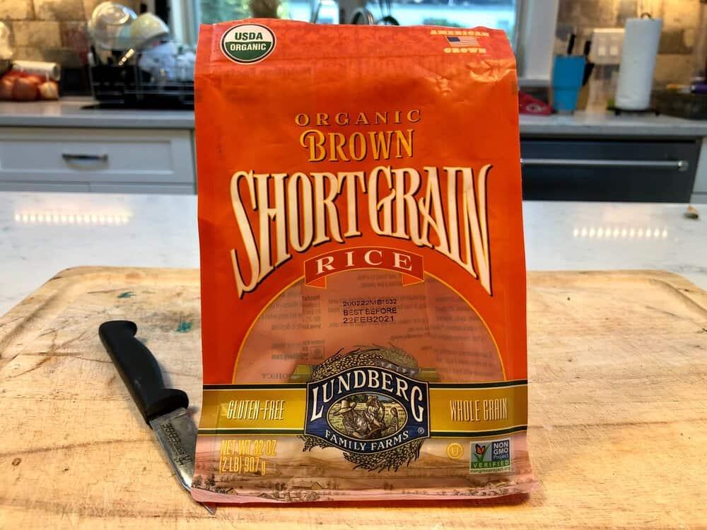 A bag of organic short grain brown rice