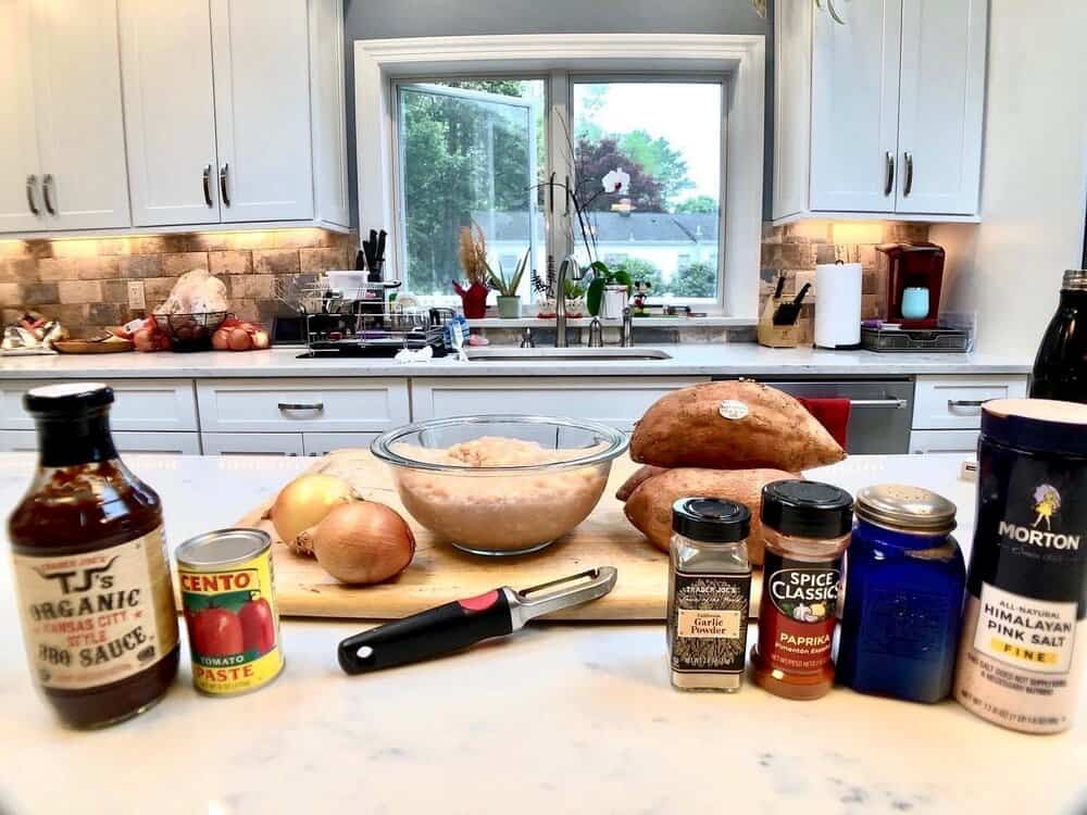 Ingredients lined up on a countertop