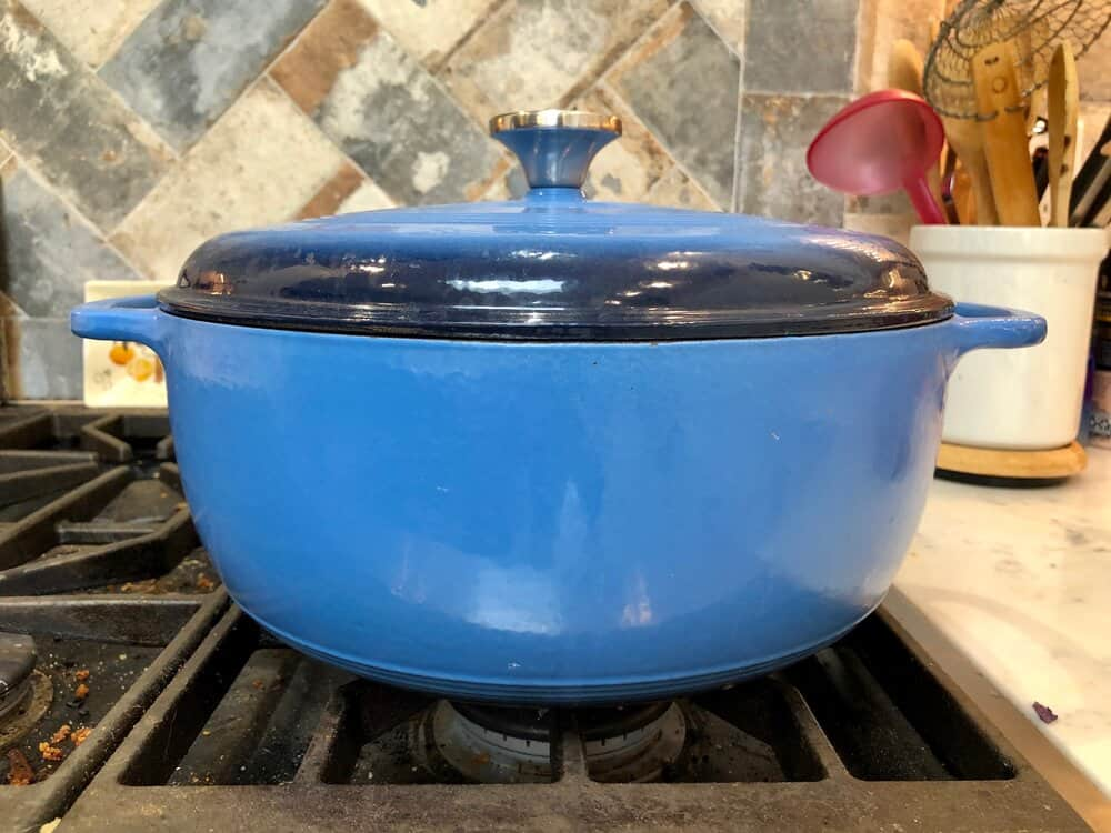 Blue dutch oven on the stove