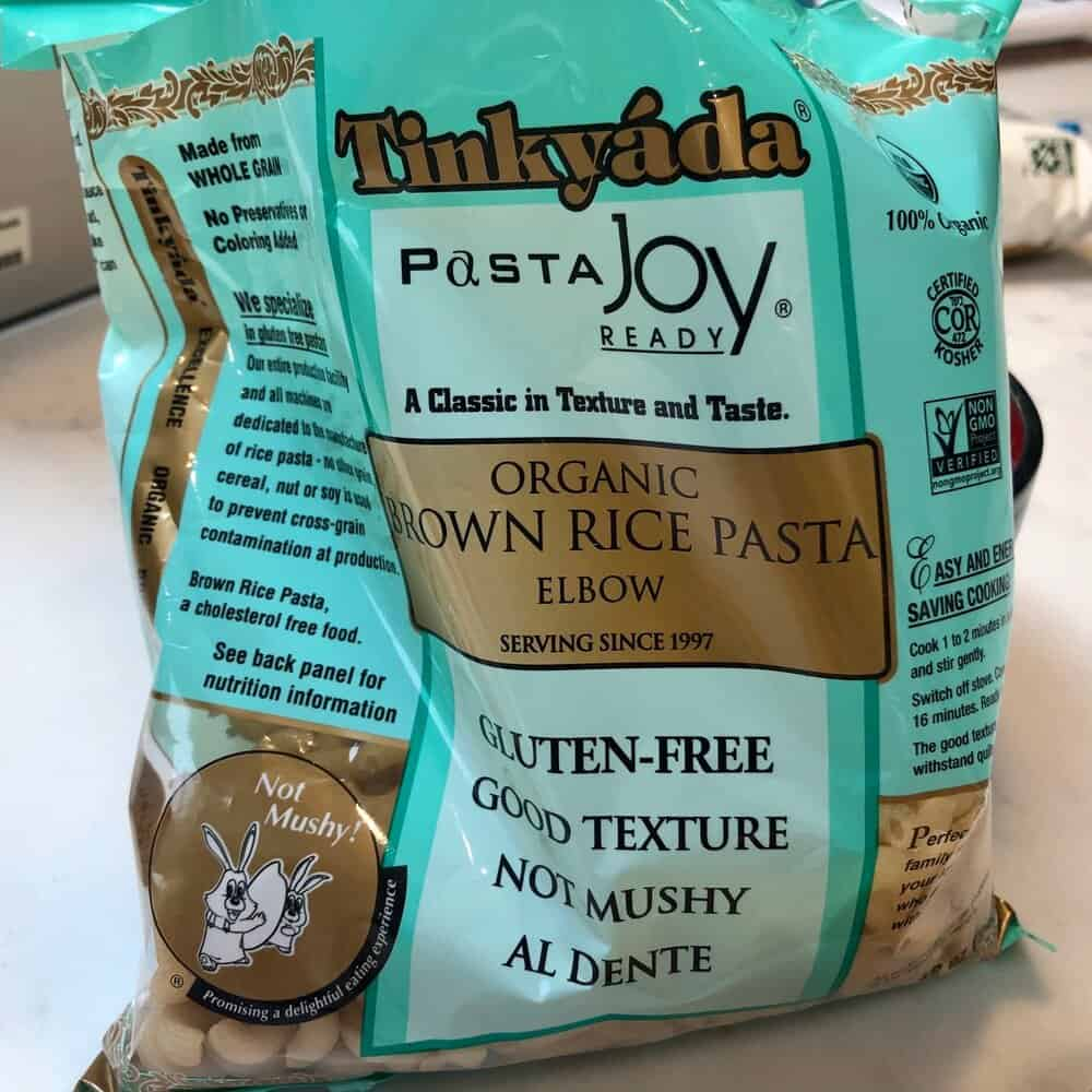 A picture of Tinkyada organic brown rice elbow pasta