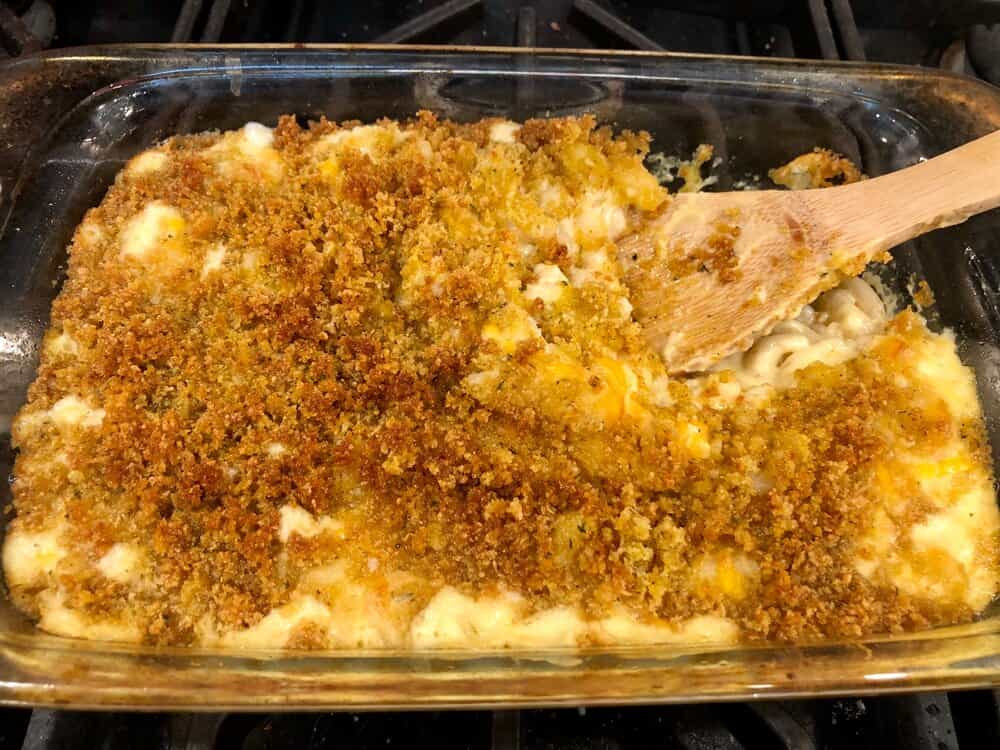 Brown rice macaroni and cheese in a baking dish