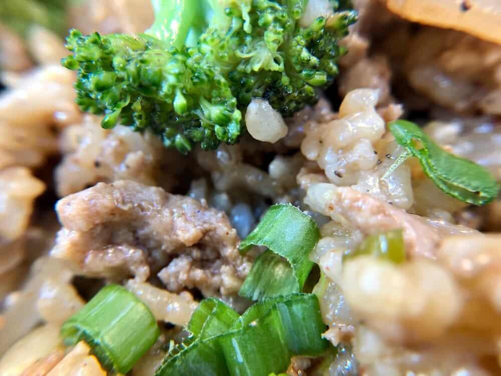 Closeup of ground turkey stir fry