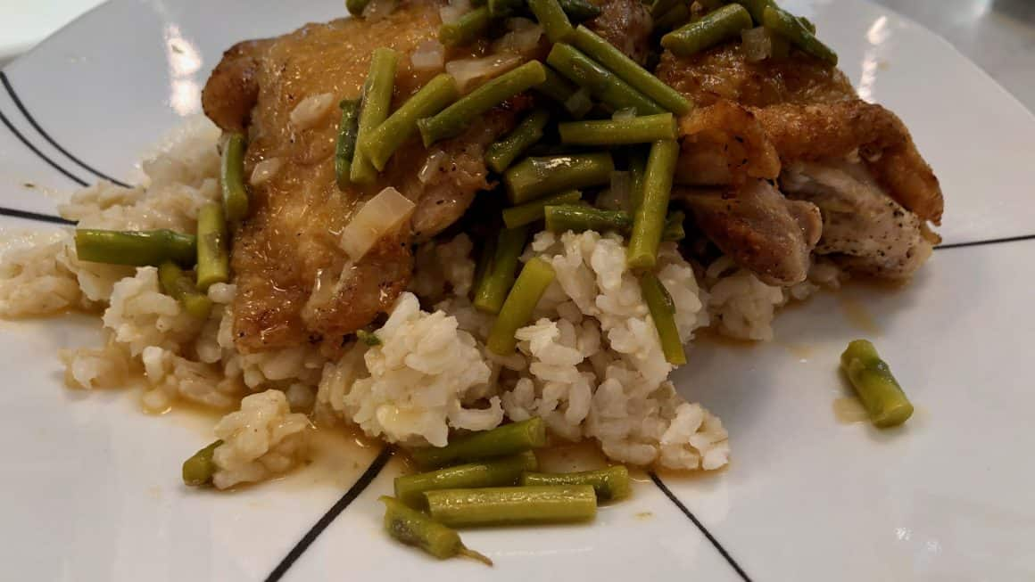 Pan seared chicken thighs