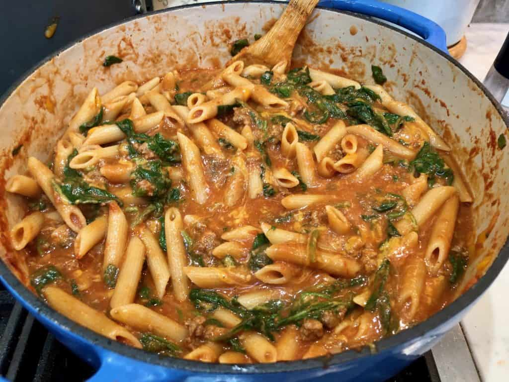 Penne ragu with spinach