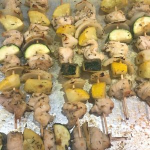 Chicken skewers in the oven