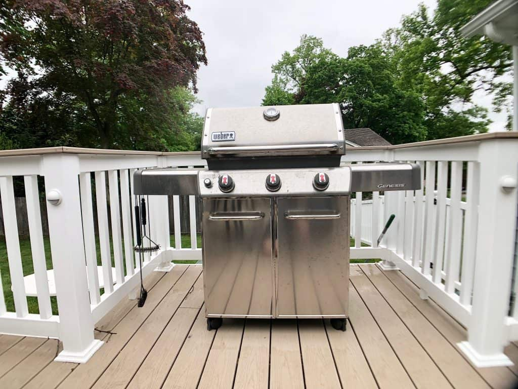 Weber grill on a deck
