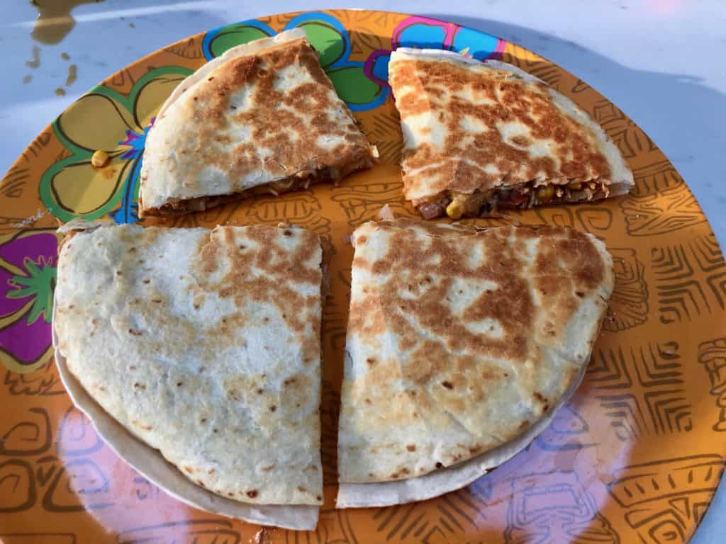 Cooked quesadilla on a plate