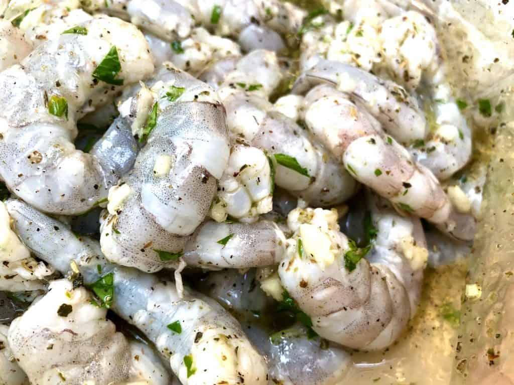 Shrimp marinating in a bag
