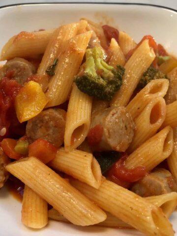 Pasta primavera with sausage
