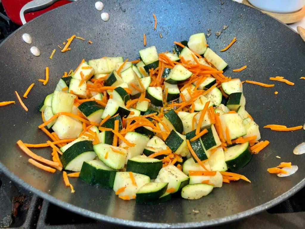 Cooked vegetables in a wok
