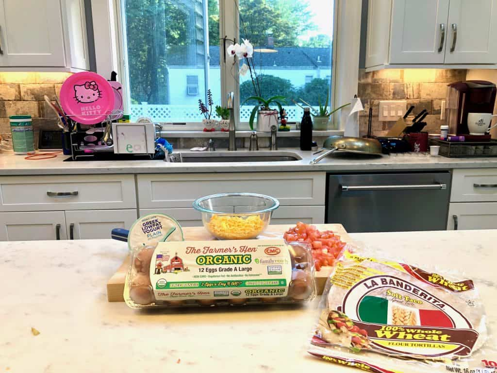 Ingredients for breakfast quesadilla