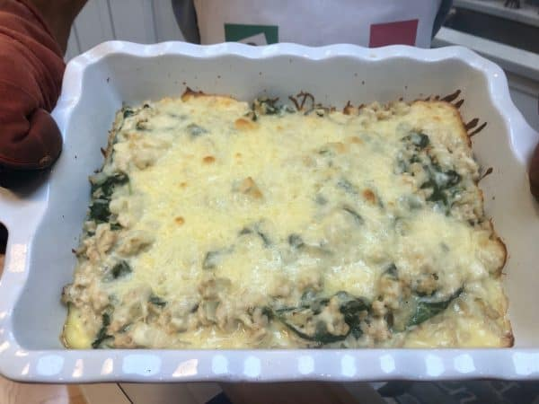 Ground Turkey Casserole with Spinach and Cheese