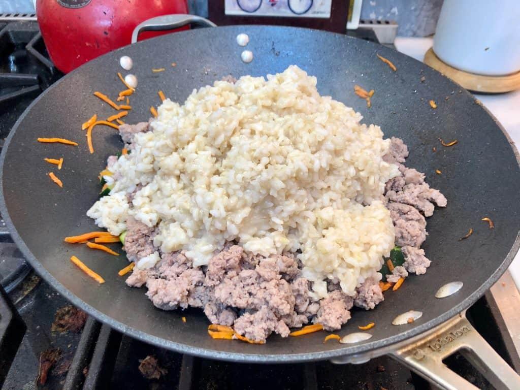 Rice added to stir fry