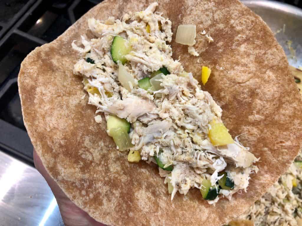 Chicken enchiladas in a tortilla