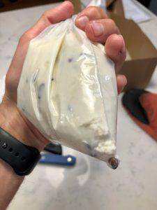 Cannoli cream in a plastic bag