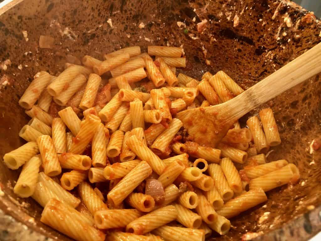 Rigatoni with tomato sauce in a bowl
