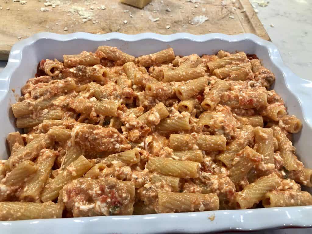 Rigatoni in a casserole
