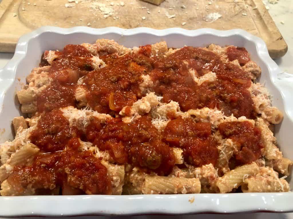 Rigatoni ready to be baked