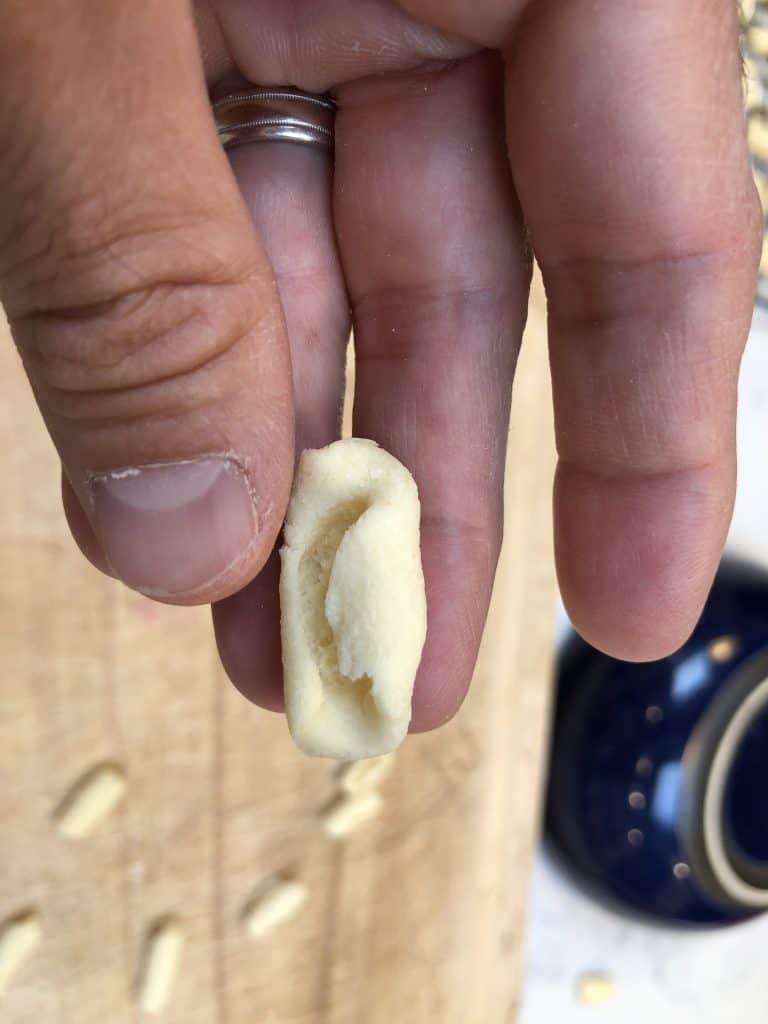 Close up of homemade cavatelli