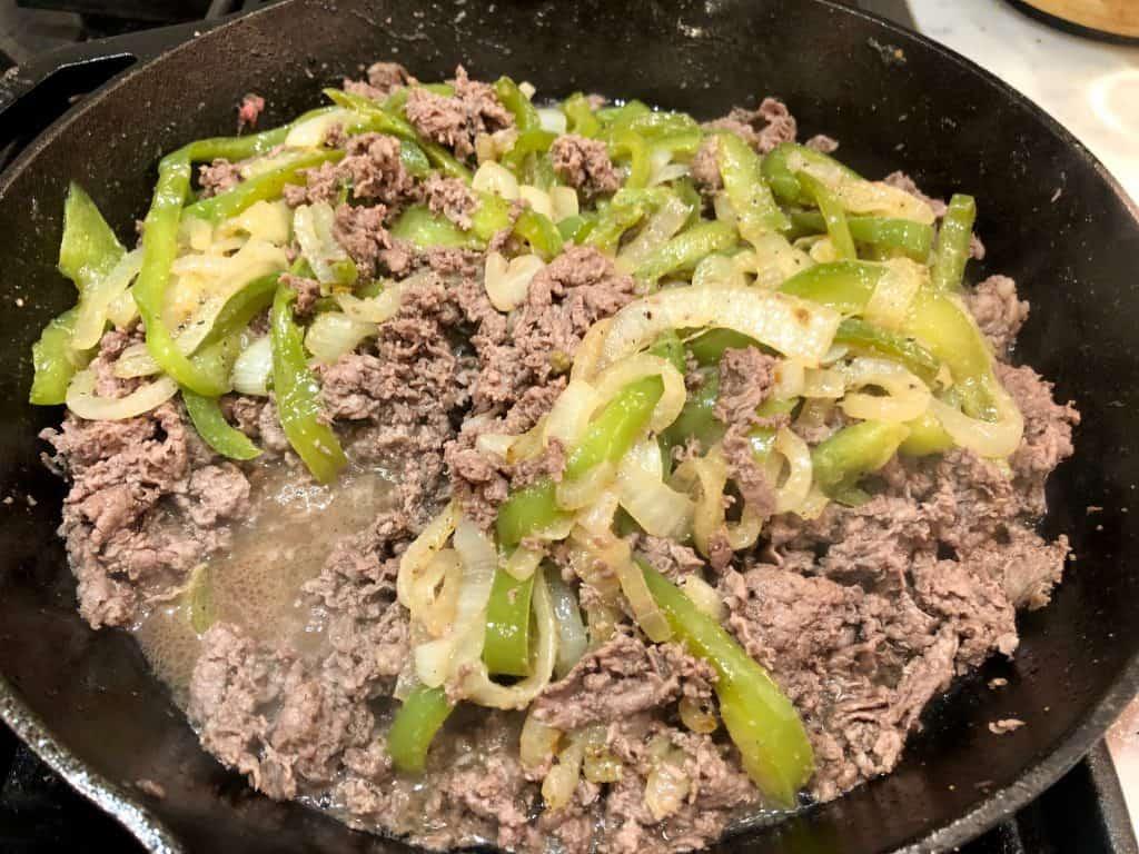 Steak and vegetables in a skillet