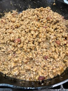 Ground turkey with refried beans