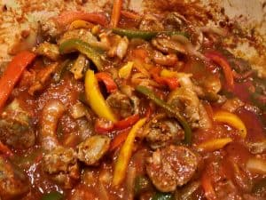 sausage and peppers in a pot