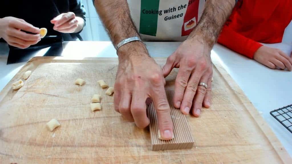 Making cavatelli with a gnocchi board