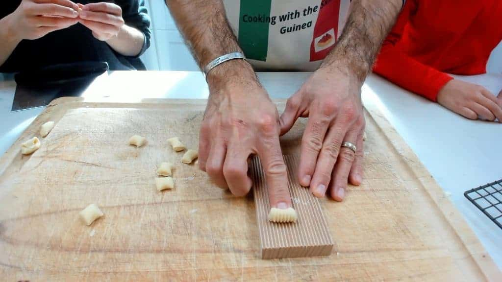 Using a gnocchi board to make homemade cavatelli