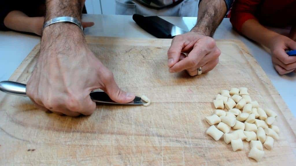 Making homemade cavatelli with a knife