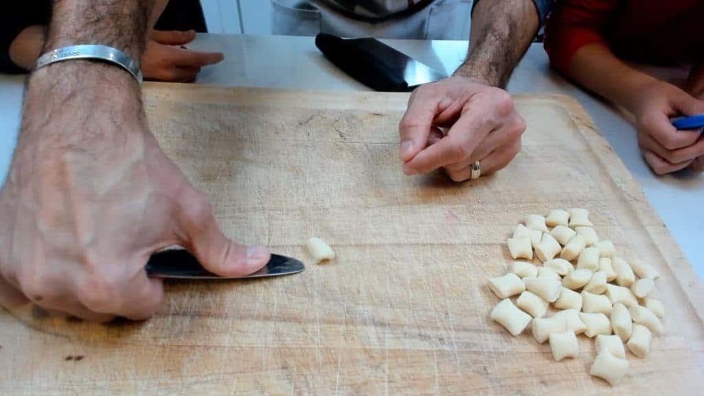 Using a knife to make cavatelli
