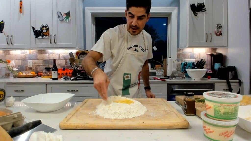 Mixing egg pasta dough