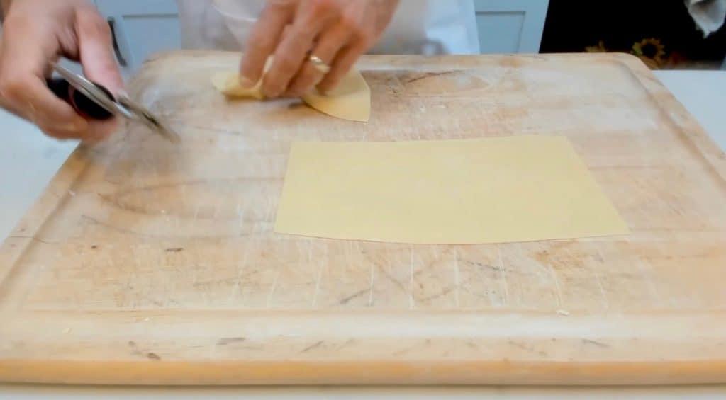 Trimming homemade pasta dough