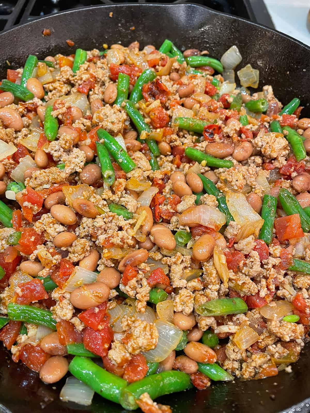 Healthy ingredients cooking in a pan