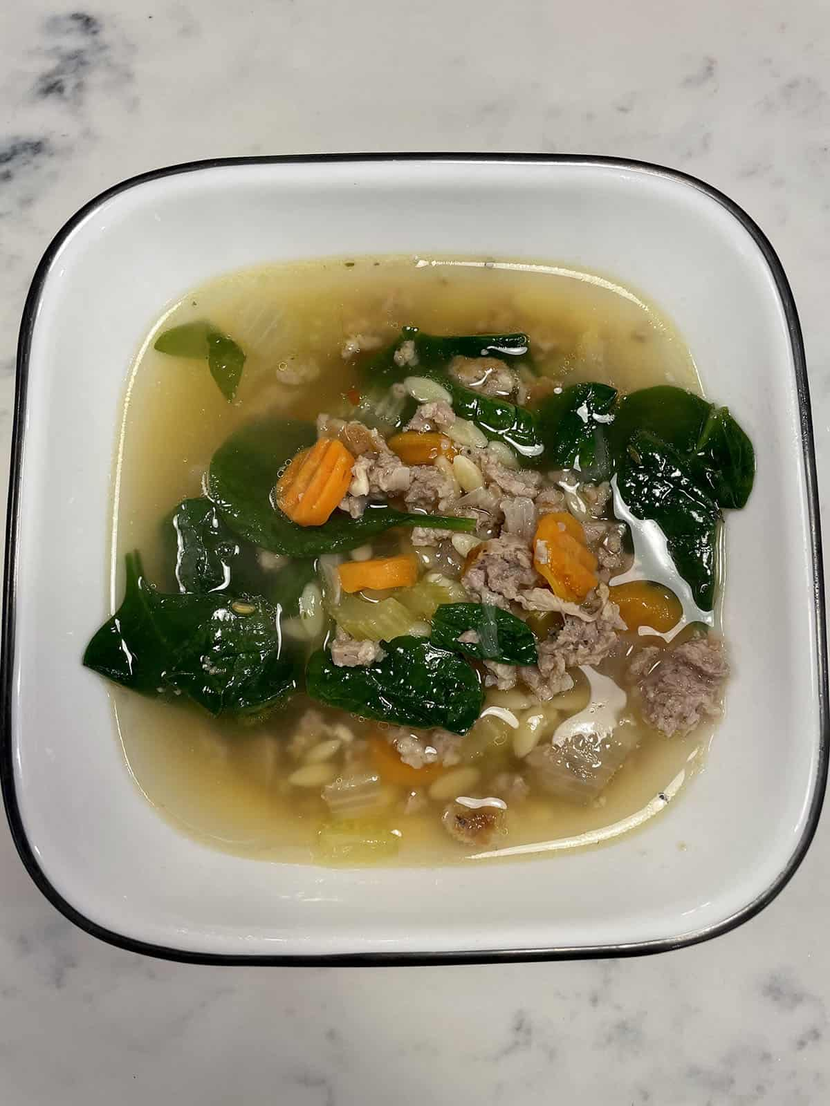 Italian sausage soup with spinach