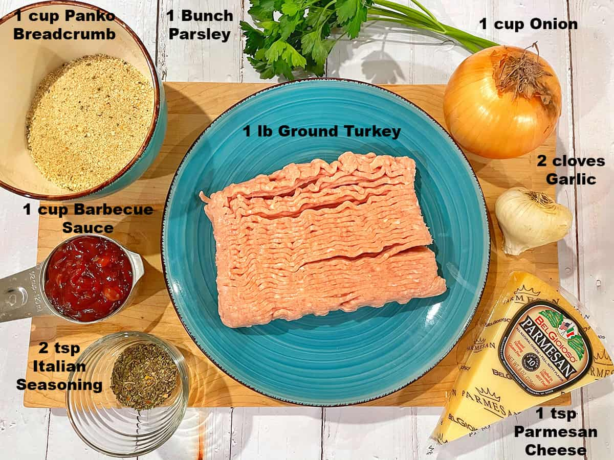 overhead of ingredients for chicken meatloaf