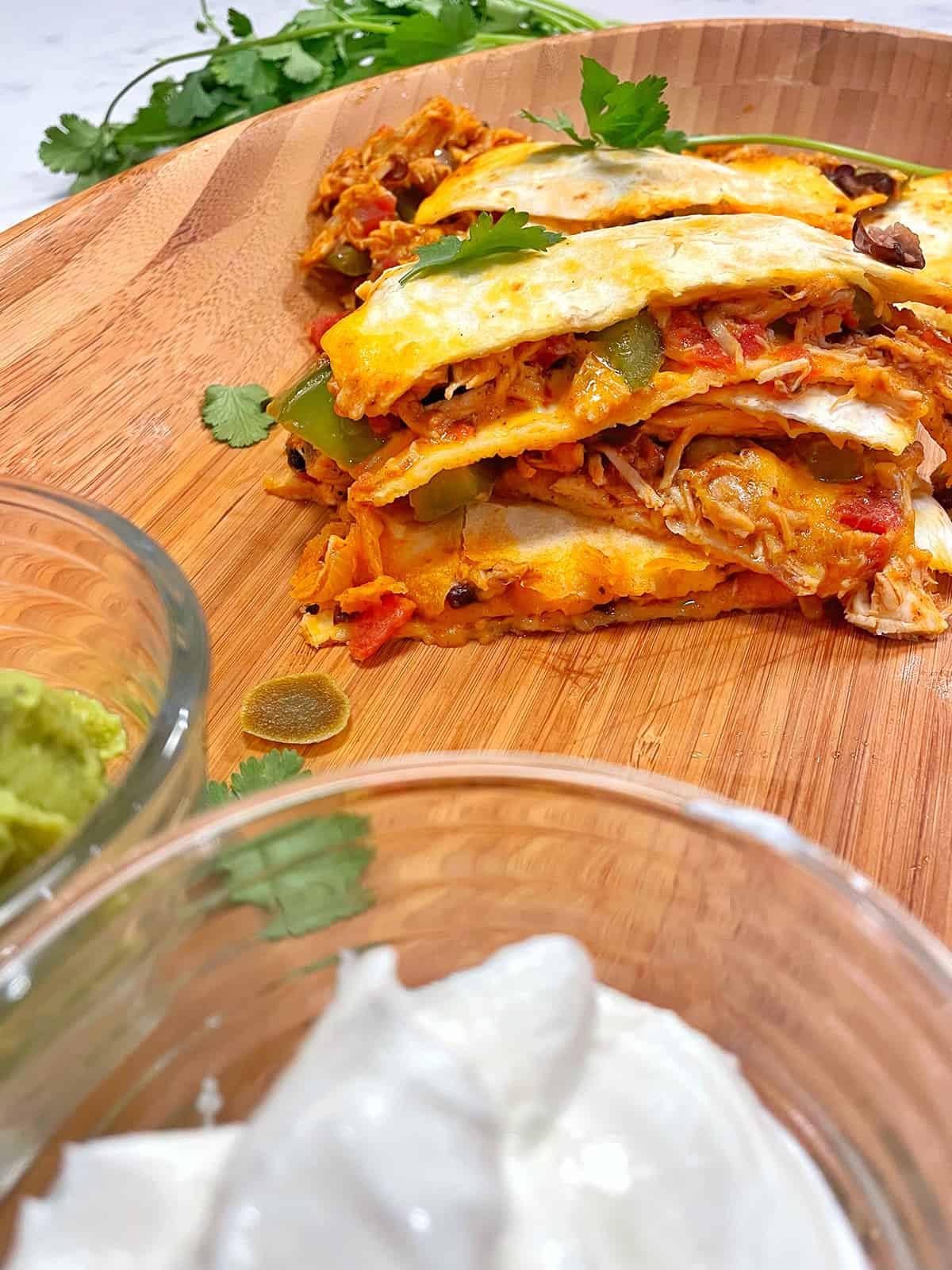 chicken quesadillas on a serving tray