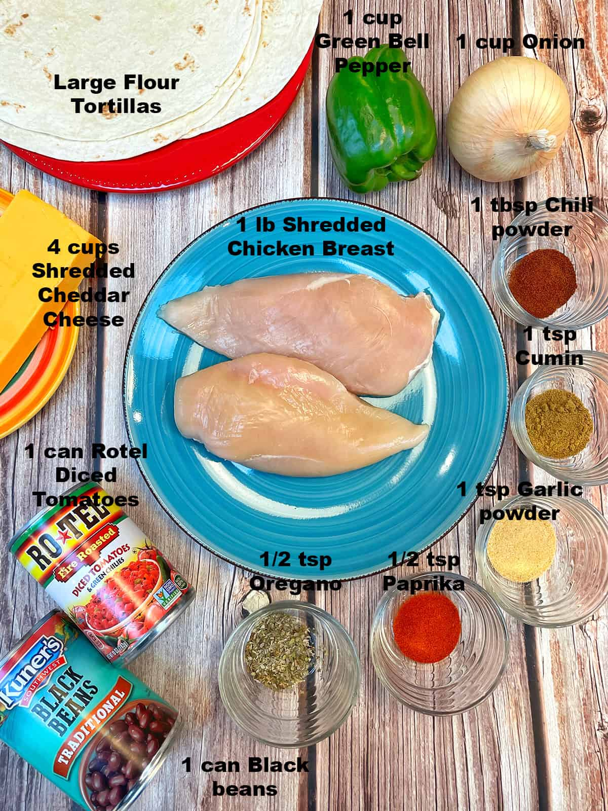 overhead of ingredients for chicken quesadillas