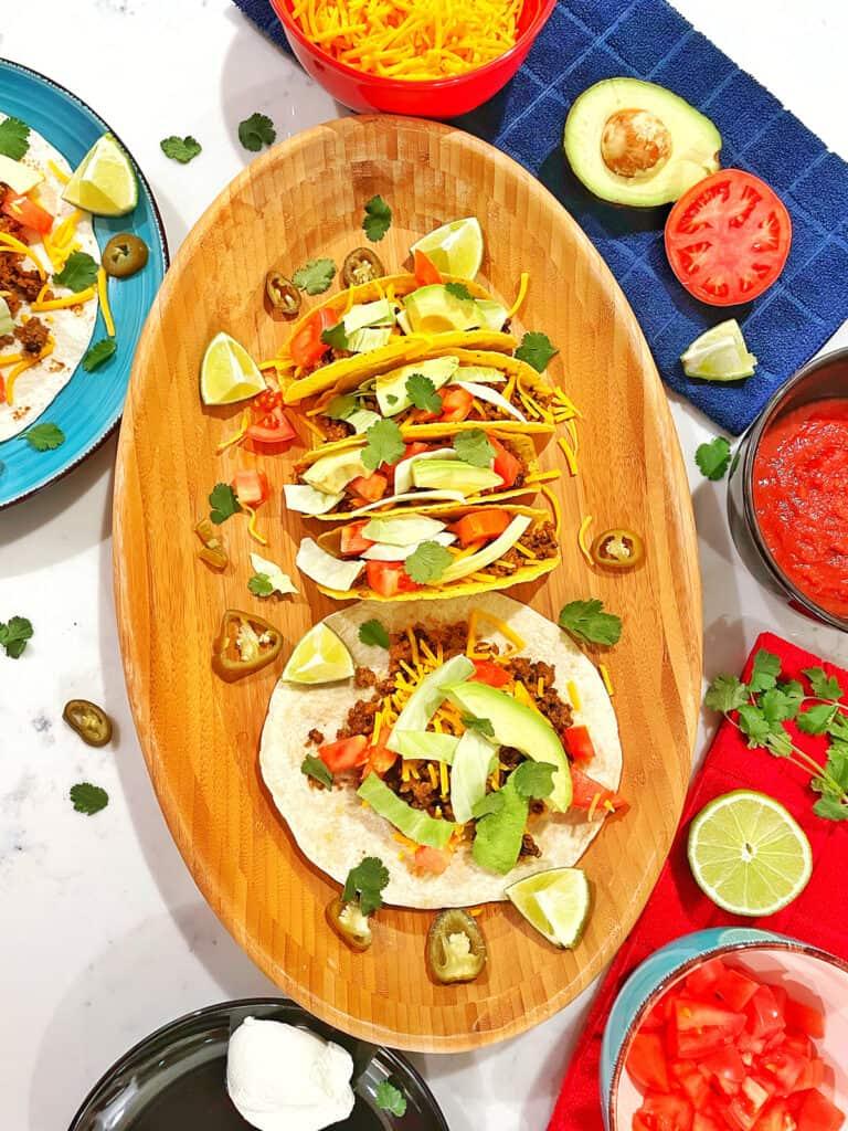 overhead of healthy turkey tacos